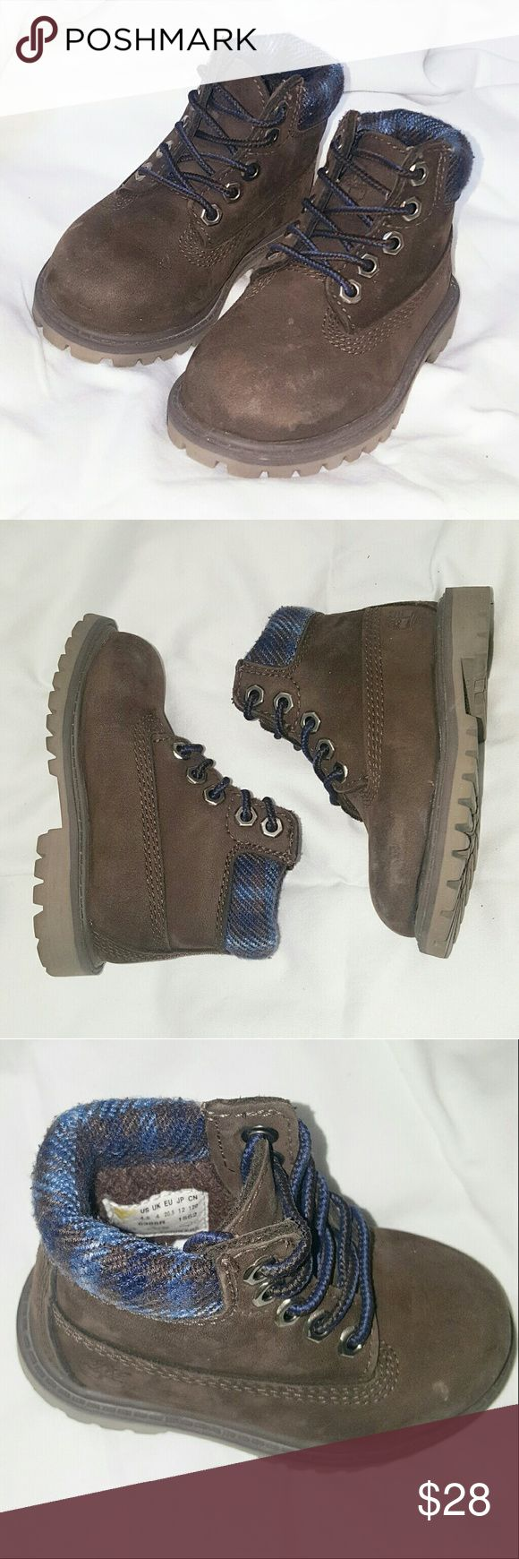 TIMBERLAND 4.5 us baby boots hiking cute classic CUTE TIMBERLAND HIKING BOOTS NO MAJOR FLAWS SOME SCUFFS THAT ARE EASILY CLEANED GOOD ENOUGH TO WEAR AS IS LOVELY BROWN WIT BLUE PLAID Timberland Shoes Boots