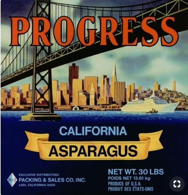Progress Asparagus Vegetable Crate Label Lodi California Crate Label Vegetable Crate Labels Vintage Food Labels