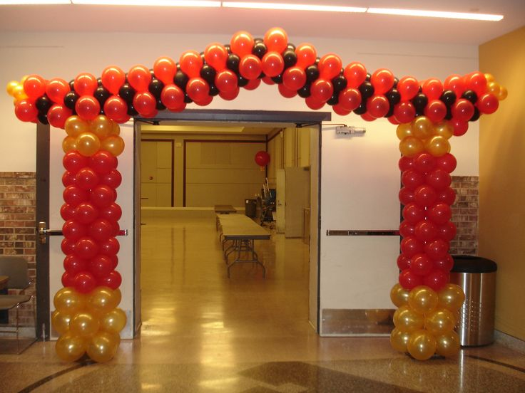 Pagoda balloon arch bodacious balloons pinterest for Asian party decoration