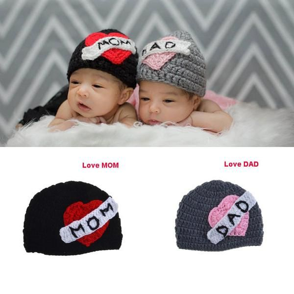 Crochet Beanie for Twins - Love Mom, Love Dad – Re+Peat