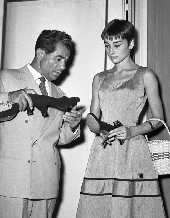Audrey Hepburn and Salvatore Ferragamo, 1954. Photo © Banca Dati dell'Archivio Foto Locchi, Florence