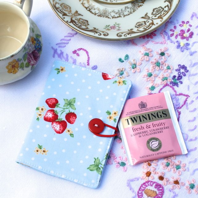 Teabag wallet or card holder - 'Strawberry Summer' - blue, red - FREE UK P £5.75