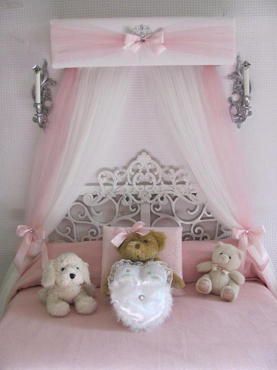 Crib canopy nursery cornice bed teester full twin queen 30 for Nursery crown canopy