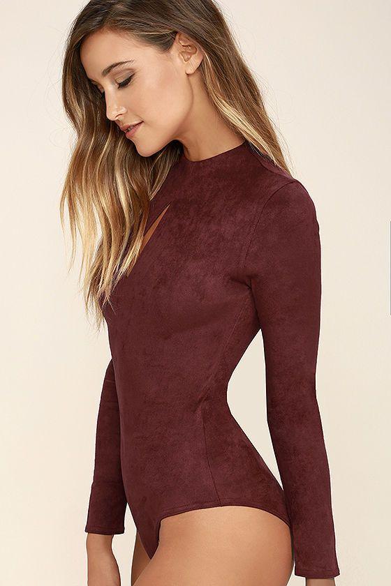 Mink Pink Feel Again Bodysuit - Wine Red Suede Bodysuit - Long Sleeve Bodysuit…