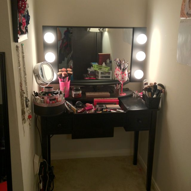 Vanity With Lights And Desk : New vanity set up! #VanityGirlHollywood #mirror #starlet #organization #girly #makeup #tour # ...