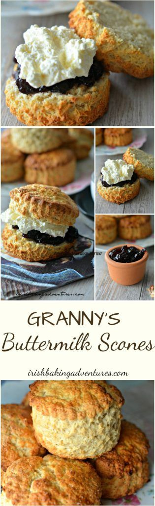 GRANNY'S BUTTERMILK SCONES - IRISH BAKING ADVENTURES GRANNY'S BUTTERMILK SCONES - Everybody loves my Nanny's Buttermilk Scones! She would have been thrilled It's a winner turns out the most delicious scones every time. The secret is the buttermilk and the sugared topping ;) They bake in less than 20mins.. Delicious with Jam & Fresh Cream