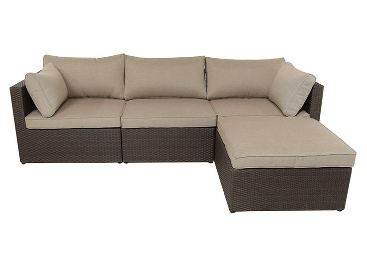 4pce moto wicker setting espresso brown taupe linen the for Outdoor furniture specialists