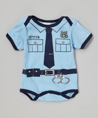 Blue Police Shortie Bodysuit by Mon Cheri Baby on #zulilyUK today! http://www.zulily.co.uk/invite/kduck108
