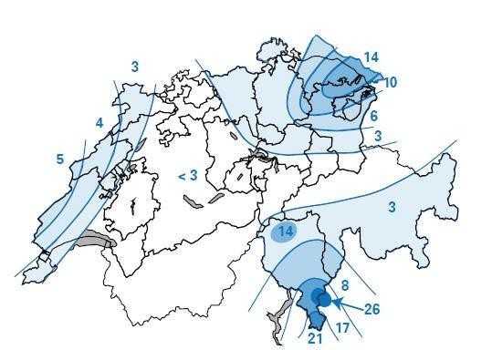 Fig.3 : Carta della distribuzione del Cesio-137 al suolo in kBq/m2 dopo l'incidente di Chernobyl (fonte: 20 Jahre seit dem Reaktorunfall von Tschernobyl - Die Auswirkungen auf die Schweiz, Ufficio federale della sanità pubblica, 2006).
