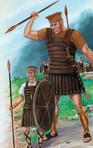 Goliat y los soldados filisteos