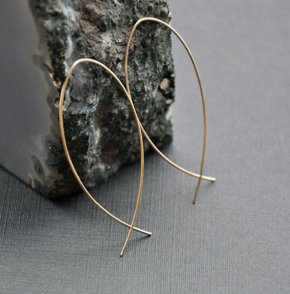 Large Fish Hoops Gold Threader Earrings by GueGueCreations on Etsy