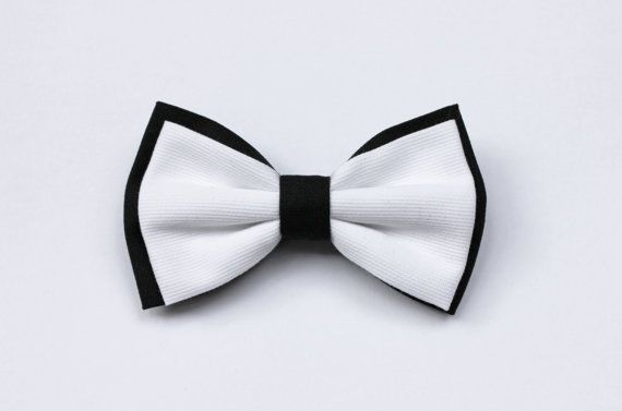 Bow tie for men stylish black and white  by ScoccaPapillon on Etsy