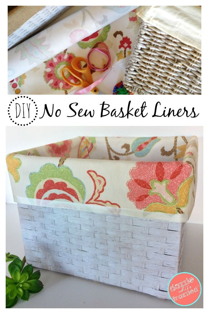 Make your own no sew cloth basket liners to transform a store-bought basket into one that fits your decor using fabric and Heat-n-Bond tape.