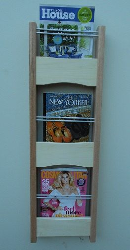 Magazine Rack  Wall Mounted  Handcrafted From Red Oak and Aspen by AlongtheRidge, $165.00