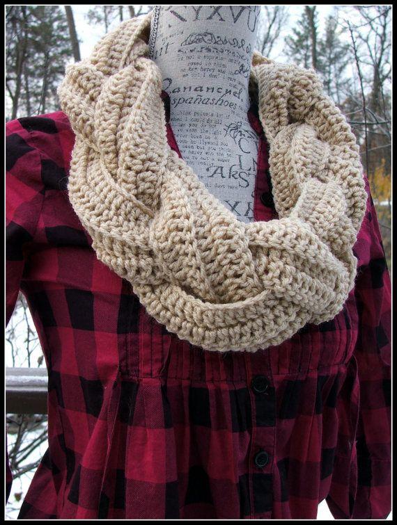 Braided Cowl Knitting Pattern : Crochet Braided Cowl. Infinity Cowl. Braid Cowl. Cowl. by BeadGs, USD30.00 Cr...