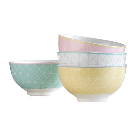 Impressions Bowls Set of 4  Cross Grid