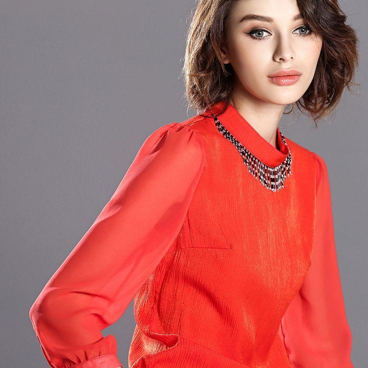 Autumn high quality red t-shirt new European American fashion trend pure handmade new women t-shirt MI16080815