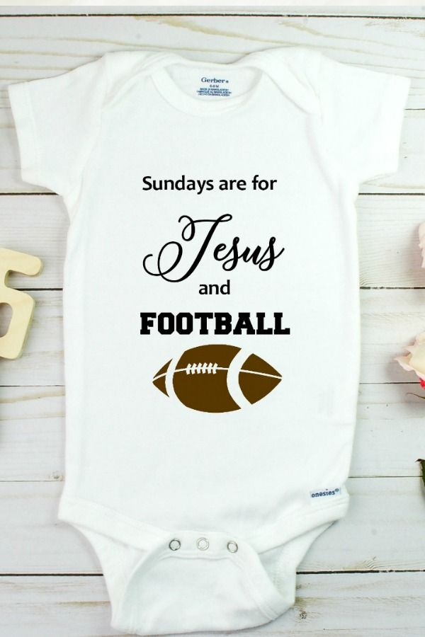 Love Jesus and Football Onesie. Click above to shop