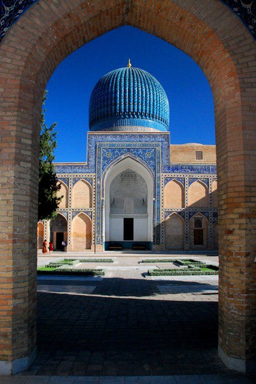 A great arch framing a great relaxation space leading to a great reverent space. Very Nice. Samarkand, Uzbekistan