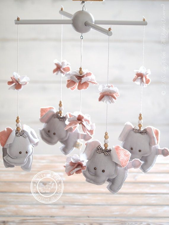 Grey & Pink Elephant Nursery Mobile Girl, Grey & Pink Nursery Decor  by #LollyCloth