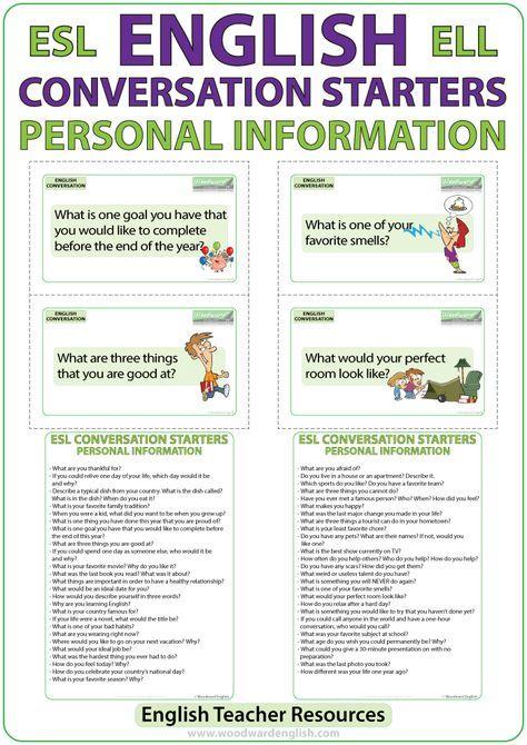 ESL Conversation Starters - Personal Information Internet sites