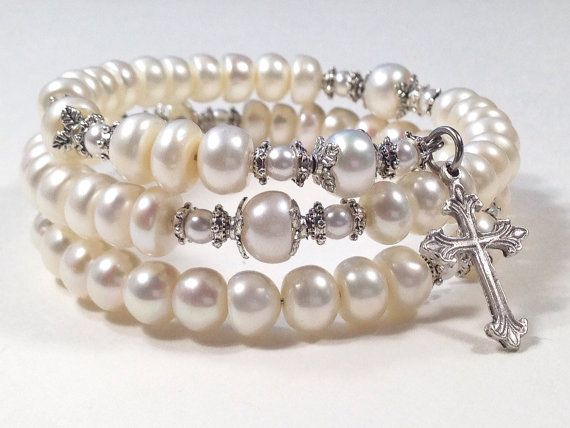 Pearl Rosary Bracelet Large White Cultured Freshwater On Pearls Five Decade Memory Wire Wrap By Belladonna
