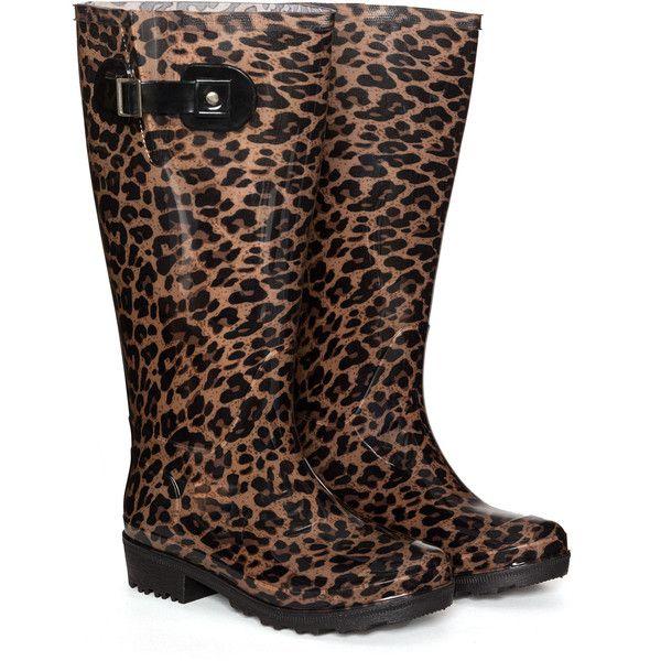 JJ Footwear Black / Camel Plus Size Leopard print wellington boots ($90) ❤ liked on Polyvore featuring shoes, boots, black, plus size, black rubber boots, leopard rubber boots, black boots, shiny boots and black rain boots