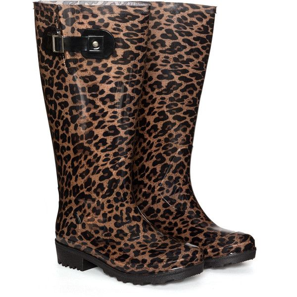 JJ Footwear Black / Camel Plus Size Leopard print wellington boots ($90) ❤ liked on Polyvore featuring shoes, boots, black, plus size, wellies boots, leopard rain boots, leopard boots, shiny black boots and camel boots