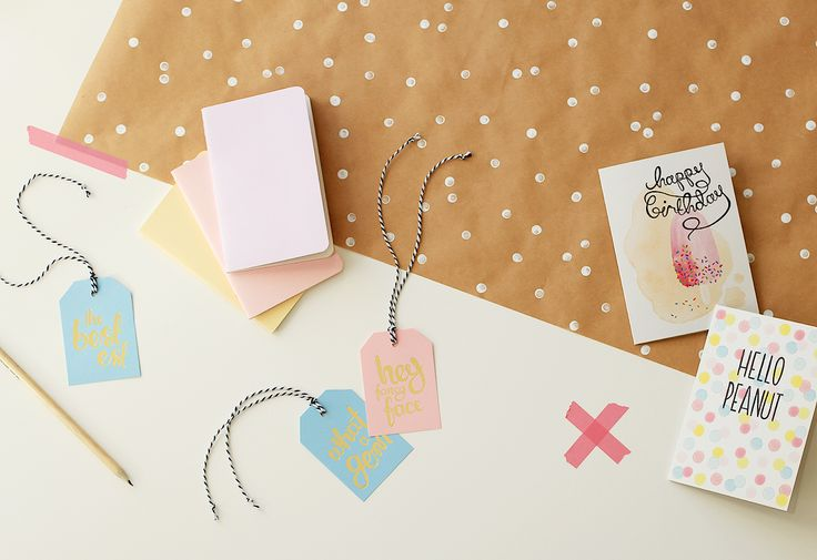 Ritual gold foil gift tags. Ice-cream hue happiness.