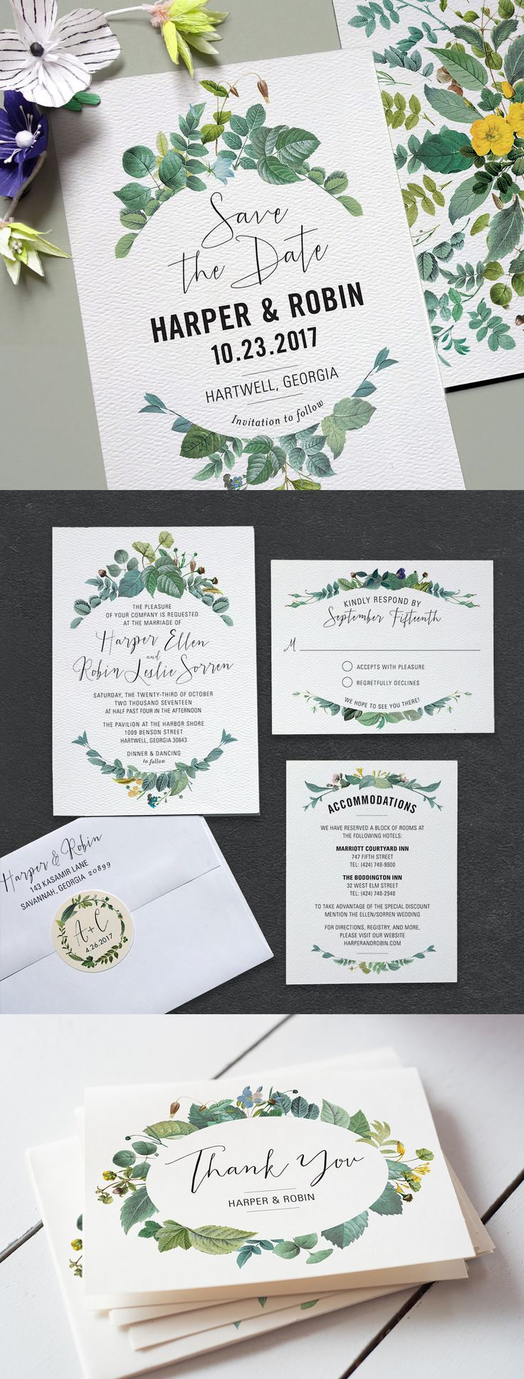 gotta love greenery wedding stationery from Printable Press
