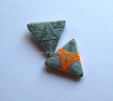 Triangle thread wrapped buttons by Gina Barrett