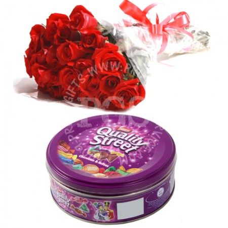 Quality Street Chocolates with Red Roses | Send chocolates and flowers to Pakistan