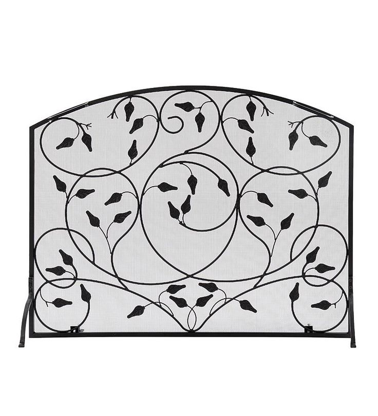 Wrought Iron Leaves Single Panel Fireplace Screen | Fireplace Screens