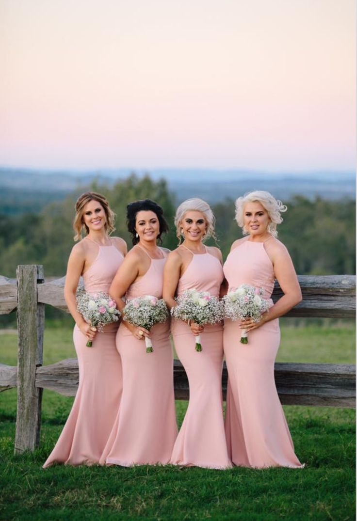 Isabella | Alyssa, the beautiful bride, wore our Isabella Dress in Dusty Pink. The dress is astunning full length dress by Australia designer Love Honor. The Isabella is a high neckline style featuring lace applique on the waistline and is also available in Peach, Navy, Ivory & Nude.