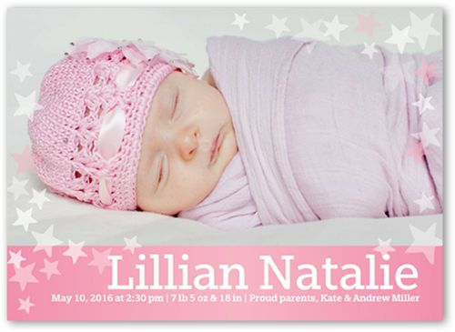 Birth Announcement: Many Stars Girl, Square Corners, Pink