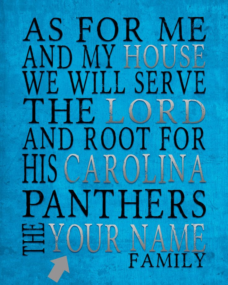 "Carolina Panthers football inspired Personalized Customized Art Print- ""As for Me"" Parody- Unframed Print"
