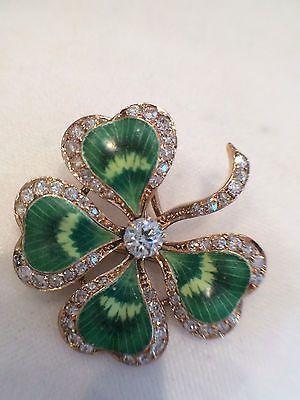 Antique 14k yellow gold enamel/ diamond four leaf clover brooch ...