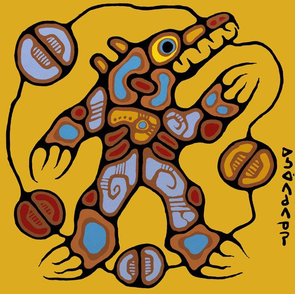 """Medicine Bear"" - ""The Ojibwa have great respect for the Bear. According to their legends, in the distant past the Bear had a human form and was in fact an ancestor of the Ojibwa. Therefore he understands the Indian language and will never attack or fight any Indian if he is addressed properly."" - Norval Morrisseau"