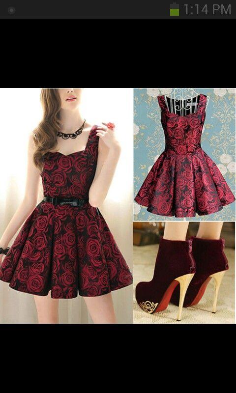 Flower red roses black short prom dress