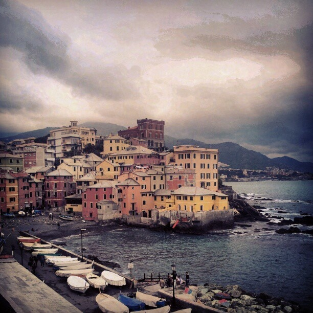 #boccadasse #genoa #genova #italy #italia #sea #port #boat #boats #clouds #beach #castle #waves - @aarondisagio- #webstagram