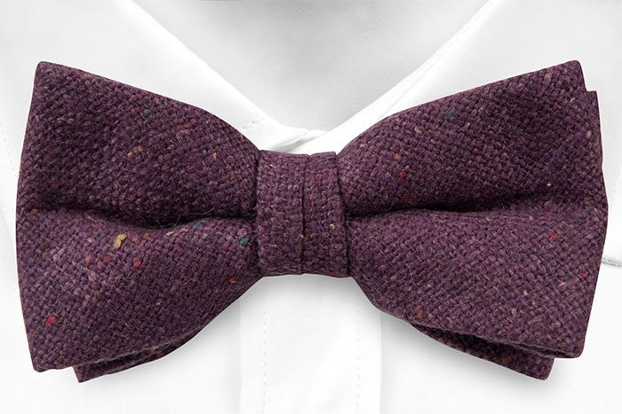 Pre tied bow tie - Solid purple with red, yellow & green specks