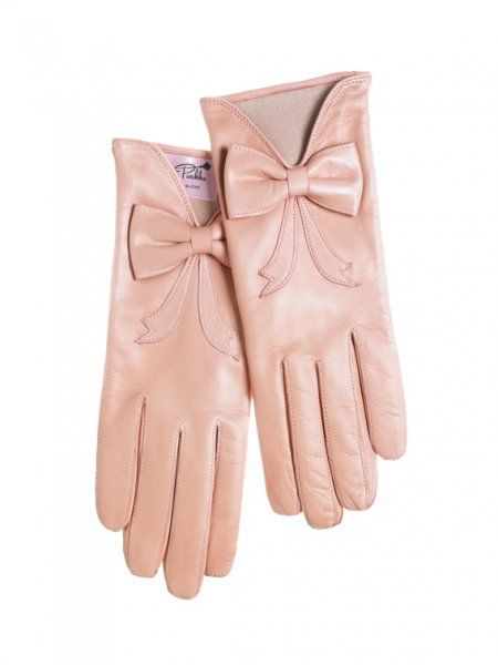 vintage pink gloves with bows