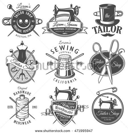 Set of vintage monochrome tailor emblems. Designer toolkit. Perfect for tailor, sewing companies and tailor shops logo, label, emblems and other signs