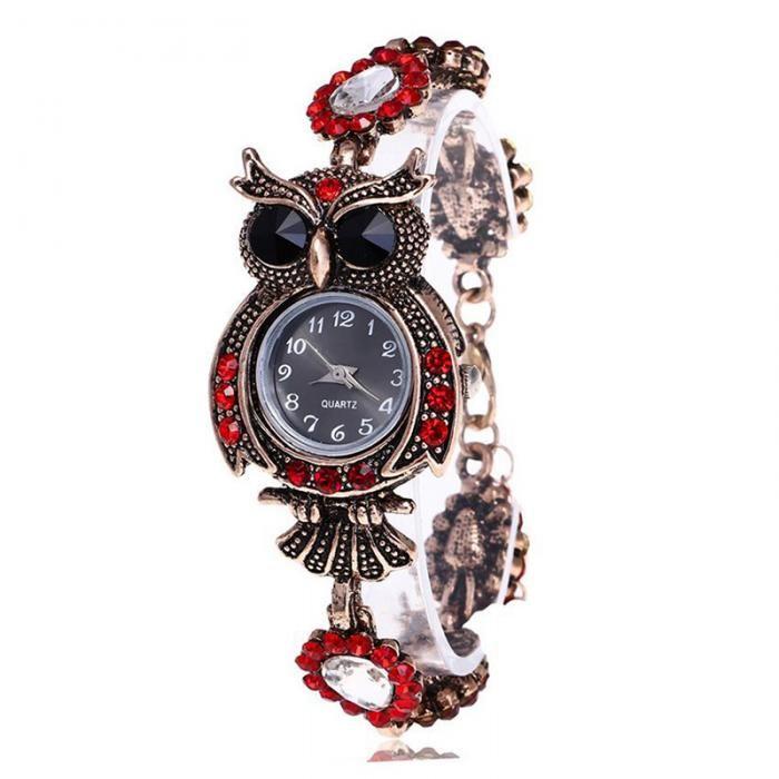 Women Rhinestone Owl Bracelet Watch