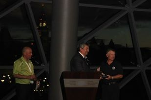 The Mayor of Marathon, Greece, give Jim Robinson and John Halvorsen replica medals from the first marathon ever run - what a great moment at the 2013 Tamarack Ottawa Race Weekend President's Reception.