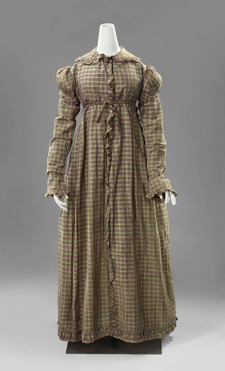 Dress: ca. 1820-1825, Dutch, plaid silk, puffed sleeves over long sleeves, ruffled collar, closure at center front and hem, lined in sateen.