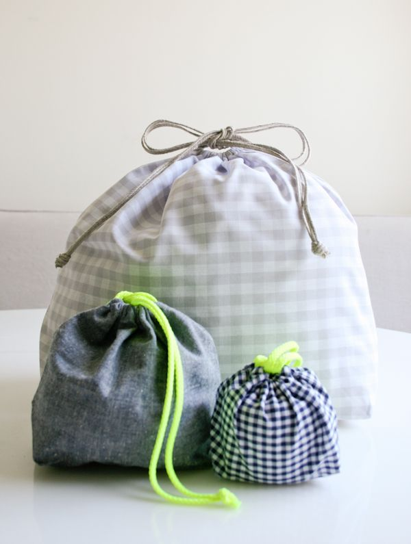 Easy DrawstringBag - The Purl Bee - Knitting Crochet Sewing Embroidery Crafts Patterns and Ideas!