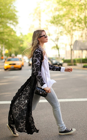 laced long cardigan