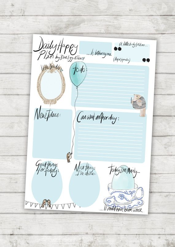 Daily Happy Plan - instant printable download daily planner with birds unlimited use and print