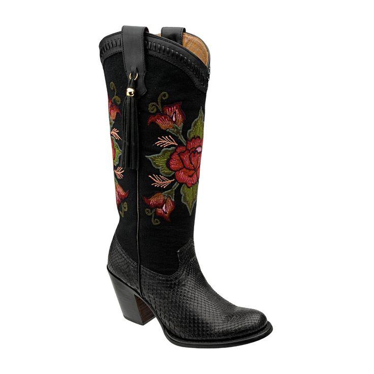 Cuadra Damen Western- Cowboystiefel (Schlangenleder) schwarz 1Z24PH Lederwaren Damen Stiefel